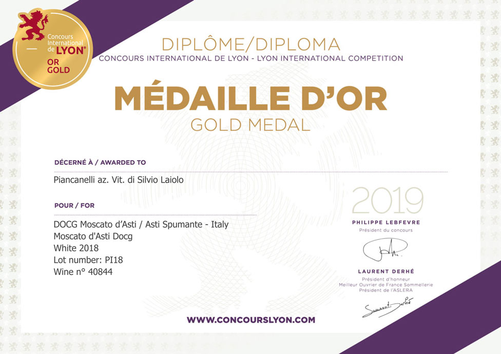Concours-International-de-Lyon-2019-Award-Premio-Moscato-d-Asti-DOCG-2018-Gold-Medal-Medaille-d-Or-Piancanelli-winery