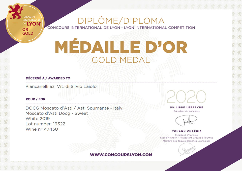 Concours-International-de-Lyon-2020-Award-Premio-Moscato-d-Asti-DOCG-2019-Gold-Medal-Medaille-d-Or-Piancanelli-winery